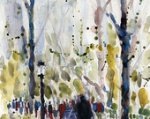Central Park, NYC - Art Print  from Original Watercolors - Page Size 8.5 x 11