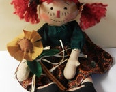 Primitive Raggedy Ann  Fall Sunflowers With Handmade Sunflower Ornie
