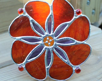 Red, Amber and Purple Stained Glass Flower Suncatcher
