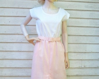 SALE 80s Pink and White Day Dress size Small Petite Front Slit