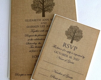 Elegant Romantic Vintage Wedding Invitations on Burlap Background with Rustic Tree Handmade by avintageobsession on etsy