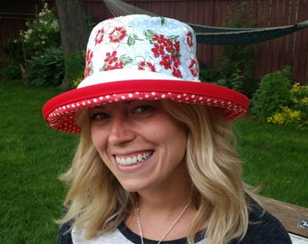 Sunblocker - Red, White and baby Blue large brim sun hat with adjustable fit