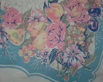 Vintage Tablecloth Roses Flowers FRUIT 50s pinks blues Cottage chic ex