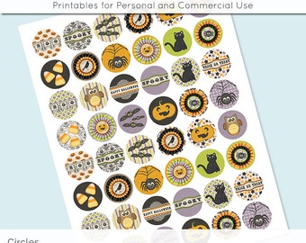 Halloween Cat Bat Pumpkin Spider Digital Collage Sheet Circle 30mm 25mm 20mm Download Sheets for Glass Pendants Cuff Links Round