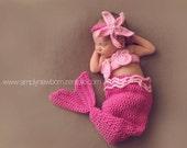 On Sale Pink Newborn Baby Girl Mermaid Costume, 0-3 Month Baby Girl Photo Prop Mermaid