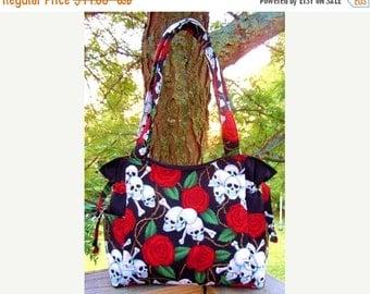 ON SALE - Skulls and Roses Handbag, Baby Bag, Travel Bag, Purse, Tote, Shoulder Bag, Adjustable Strap, Outside Pockets, Small Med Big