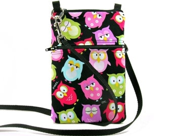 Fabric Sling Bag, Small, Owl Purse, Black, Colorful, Mini Hipster, Crossbody Bag, Zipper, Gadget, Travel Purse, Pouch, Adjustable Strap