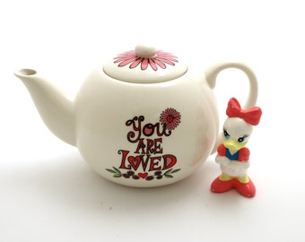 Personalized teapot - you are loved - small teapot with flowers - gift for grandmother - custom teapot - holds 2.5 cups