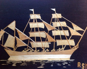 """Texas tall ship ELISSA handmade with rice straw. ready to frame.FREE Shipping. Have you seen ancient rice straw art. Collectible art 5""""X7"""""""