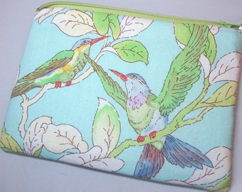 Padded Jewelry Zipper Pouch with Anti-tarnish Silver Cloth Bird Chat Print