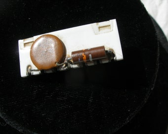 Tie Bar, using old circuit board/transitor pieces. ca1950s set on sterling tie bar. please read description.