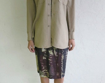 35% OFF SUMMER SALE Taupe Army Button Up Shirt