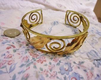 Ornate Vintage Krementz Gold Filled Wide Cuff Bracelet.