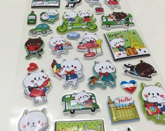 Cute Puffy Stickers - We Love Whimsical Kitty Cats in Paris....Meow..