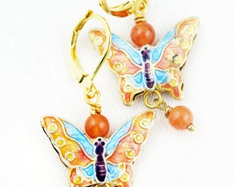 Aventurine butterfly earrings - Chinese cloisonne and aventurine