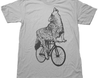 Mens WOLF Bicycle Print Short Sleeved American Apparel Silver TShirt xs s m l xl xxl (custom color options)