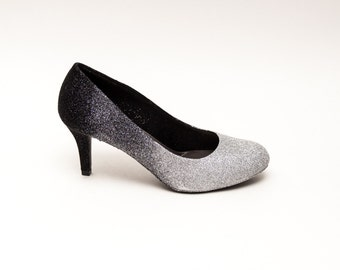 Glitter | Ombre Black to Silver High Heels Pumps Custom Shoes