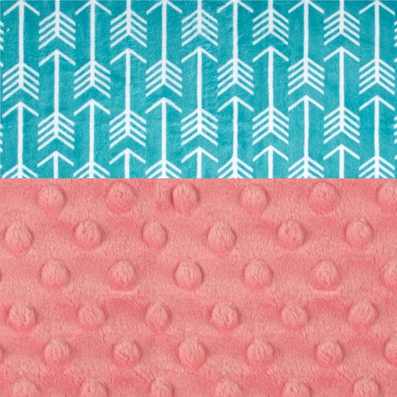 Personalized Baby Blanket, Minky Baby Blanket Girl - Arrow Baby Blanket - Teal Blue Coral Blanket - Stroller Blanket - Nursery Decor Girl
