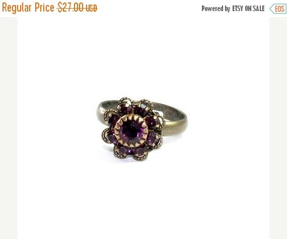 "ON SALE Swarovski Crystals on a vintage style romantic ring - ""Jewels on my finger"" - free shipping"
