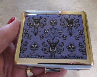 Haunted Mansion Wallpaper 8 Day Pill Box with Mirror