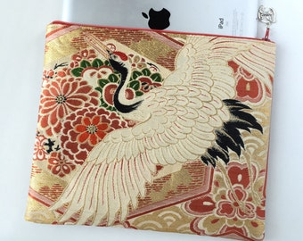 iPad Case Upcycled From Vintage Obi - Flying Crane