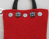 Red with Black and White Purse Handknitted Felted Custom Lined