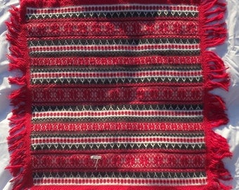 Vintage Hungarian Ethnic Traditional Woven Small Table Cover White With Red Black Embroidery