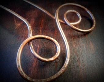 Swirl Hair Fork, Copper, metal hair stick, hair clip, hair accessory, chignon pin, hair pin, hair accessories, long hair, gold