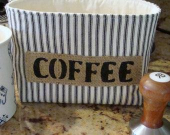 Black Ticking Striped Fabric Basket - Coffee