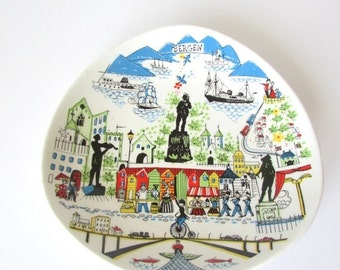 SALE 20% OFF NON-Linens Stavangerflint Vintage Souvenir Plate Bergen Norway Wall Decor