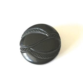 "SALE 20% OFF NON-Linens Vintage Bakelite Button Carved Design Black 1.5"" Diameter"