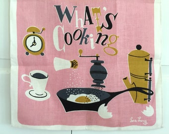 Linen Tea Towel What's Cooking Coffee Egg Housewarming Gift
