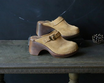 Suede Leather Clogs or Muels Slip On Shoes Bohemian Fashion Vintage From Nowvintage on Etsy