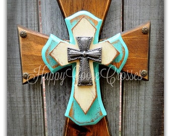 Wall Cross - Wood Cross - XX-Small - Brown Stain, Antiqued Turquoise & Beige, topped with Iron Cross