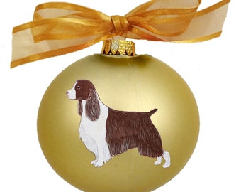 English Springer Spaniel Dog Hand Painted Christmas Ornament - Can Be Personalized with Name