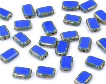 Czech Glass Opaque Blue Picasso Rectangle 8x12 Window Beads - 12