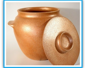 5 qt. Bean Pot, All Handmade from Micaceous Clay, Clay Pot Cooking, Ceramics and Pottery, Clay Bakeware