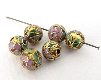 Vintage Cloisonne Beads Gold Enamel Pink Flower Blue Red Green Round 8mm vgb0909 (6)