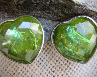 Sparkly lime green vintage clip earrings