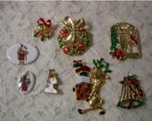 Christmas Lot Of 8 Pins And Cabachons - 8 Christmas Pins And Brooches - Destash Lot