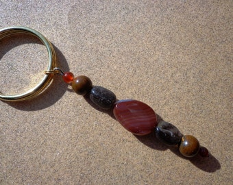 Key Ring Charm for Courage with Carnelian, Smoky Quartz and Tiger Iron Gemstones