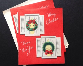 Vintage Christmas Cards Sweet 50's Smiling Wreaths in Window By Norcrest Unused-Set of 2