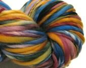 Handspun Yarn Days of Plenty 140 yards hand dyed merino wool rainbow yarn gold burgundy waldorf doll hair knitting supplies crochet supplies