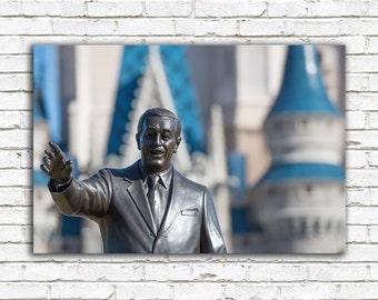 Disney art, Walt Disney photo, Disney decor, Cinderella Castle, Partners statue, Disneyworld photography, Magic Kingdom, princess decor