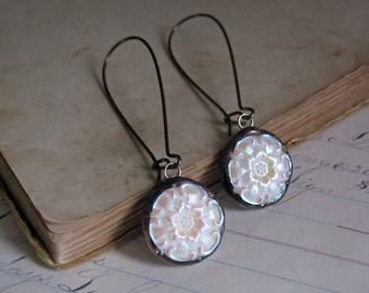 Vintage White Iridescent Glass Button Earrings Repurposed Jewelry