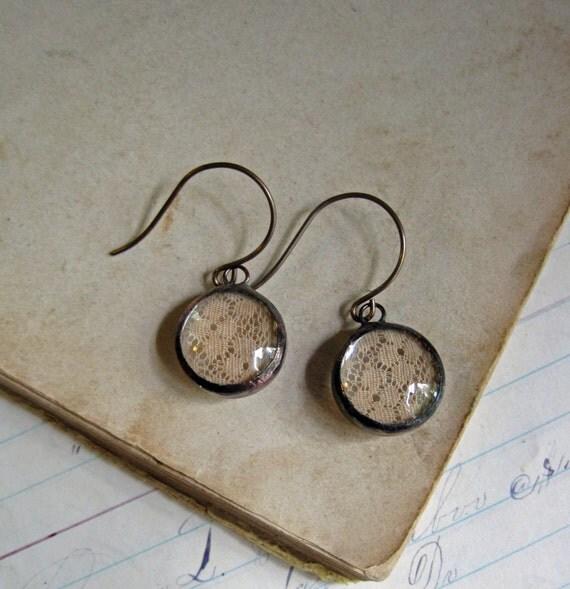 Glass Bubble Lace Earrings Boho Jewelry