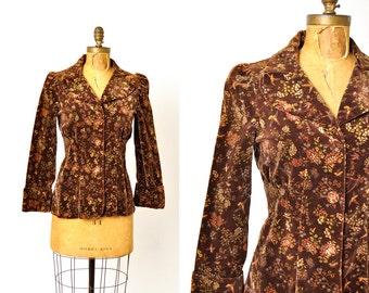 1970s jacket / Put a bird on it velvet blazer / 70s jacket .. small