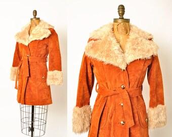 1970s coat / Almost Famous / faux fur belted coat / 70s coat