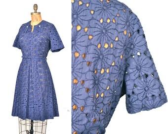 vintage 50s dress / navy blue floral cutout eyelet dress / 1950s dress .. lg / xl