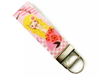Mermaid Key Ring Fabric Key Fob The Little Mermaid Fairy Tale Key Ring Cute Key Chain Kawaii Key Holder Small Keychain